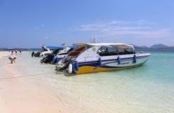 Speedboats at  Khai nai island. KHAI NAI ISLAND,PHUKET,THAILAND-APRIL 3:Speedboats at  Khai nai island.April 3,2016 in Phuket,Thailand Stock Images