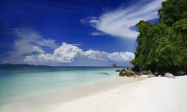 Khai Nok Beach. A view of the island Kai Nok off the east coast of Phuket Thailand stock photos