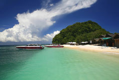 Khai Nok Boats. A view of the island Kai Nok off the east coast of Phuket Thailand royalty free stock photography