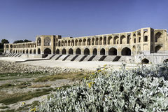 Khaju Bridge, arguably the finest bridge in the province of Isfahan, Iran. It was built by the Persian Safavid king, Shah Abbas II, around 1650 C.E Stock Photo