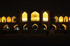 Khaju bridge in night. View on Khaju bridge in night, Oldest Bridge of Isfahan,Iran Royalty Free Stock Photos