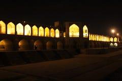 Khaju bridge in night. View on Khaju bridge in night, Oldest Bridge of Isfahan,Iran Stock Photos