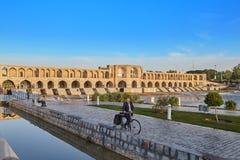 Khaju most Khajoo nad rzecznym Zayandeh lub polityk, Isfahan, Iran obraz royalty free