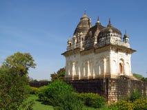 Khajuraho świątyni grupa zabytki w India z erotykiem rzeźbi na ścianie Obrazy Royalty Free
