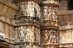 Khajuraho świątynie i ich erotyczne rzeźby, India Zdjęcia Stock