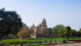Hindu and Jain temples in Khajuraho. Madhya Pradesh, India. Royalty Free Stock Image
