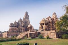 Hindu and Jain temples in Khajuraho. Madhya Pradesh, India. Stock Photography