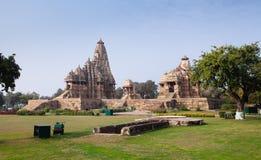 Hindu and Jain temples in Khajuraho. Madhya Pradesh, India. Stock Photo