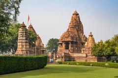 KHAJURAHO, INDIA - NOVEMBER 10, 2017: Lakshmana and Matangeshwar temples, India royalty free stock images