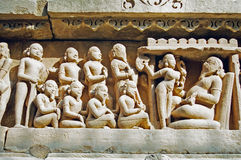 Khajuraho Statues, India. The temples of Khajuraho, decorated with sculptures, India royalty free stock photo