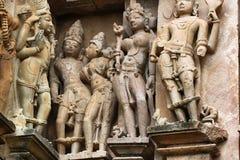 Khajuraho tempel och deras erotiska skulpturer, Indien Royaltyfri Bild