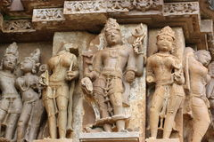 Khajuraho tempel och deras erotiska skulpturer, Indien Arkivbild