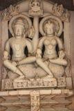 Khajuraho tempel och deras erotiska skulpturer, Indien Royaltyfri Foto