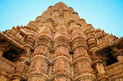 Khajuraho tempel, Rajasthan, Indien Royaltyfri Foto