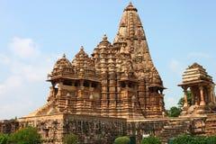 Khajuraho-Tempel und ihre erotischen Skulpturen, Indien Stockbild