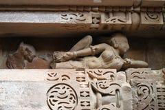 Khajuraho-Tempel und ihre erotischen Skulpturen, Indien Stockfoto