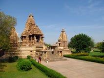 Khajuraho tempelgrupp av monument i Indien Royaltyfria Bilder