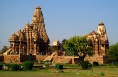 Khajuraho tempelgrupp av monument i Indien Fotografering för Bildbyråer