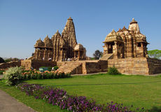 Khajuraho Temple Group of Monuments in India. With erotic sculptures on the walls. Sculptures, ornament and decorations on the walls of Khajuraho Temples. A royalty free stock images