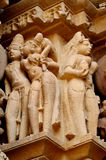 Khajuraho Temple Group of Monuments in IndiaSandstone sculptures in Khajuraho Temple Group of Monuments in India royalty free stock images