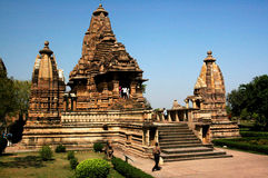 Khajuraho Temples. A hindu temple complex is located in the central india. Famous for the sclulptures Stock Images