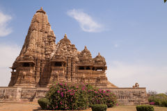 Khajuraho Temples, India. Khajuraho Hindu Temples in India,  built in 10th-12th century by the Chandella dynasty famous for their intricate and delicately Royalty Free Stock Images