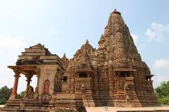 Khajurahotempels en hun erotische beeldhouwwerken, India Stock Afbeeldingen