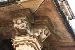 Khajurahotempels en hun erotische beeldhouwwerken, India Stock Foto