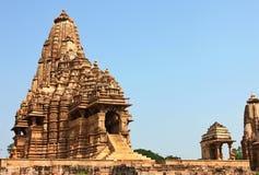 Khajurahotempels en hun erotische beeldhouwwerken, India Royalty-vrije Stock Foto's
