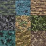 khaka tekstura Kamuflaż tkaniny bezszwowi wzory, wojskowy odzieżowe tekstury i wojsko druku wektor, deseniują tło royalty ilustracja