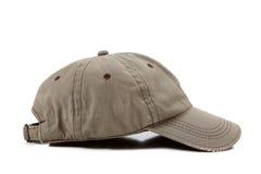 Khaki ball cap on white Stock Images