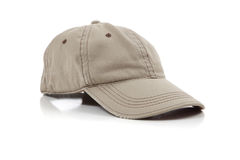 Khaki ball cap on white Stock Images