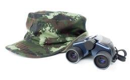 Khaki cap with binoculars Royalty Free Stock Photography