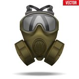Khaki Gas Mask Respirator. Vector Illustration. Royalty Free Stock Image