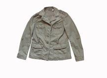 Khaki Jacket. Isolated on white background with clipping path Royalty Free Stock Image
