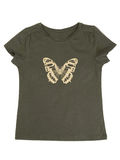 Khaki T-shirt with a butterfly pattern. Isolate Royalty Free Stock Photo