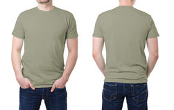 Khaki t shirt on a young man template. On white background Royalty Free Stock Photography
