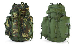 Khaki and woodland camouflage backpacks Stock Photos