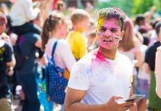 Holi color fest celebrating. Khakiv, Ukraine - 19 May 2018: Holi color fest celebrating in Park stock images