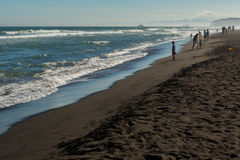 Khalaktyrsky Beach With Black Sand. Pacific Ocean Washes Kamchatka Peninsula. Royalty Free Stock Image