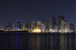 Khalid Lagoon and Al Noor Mosque in the evening. Sharjah. UAE. Royalty Free Stock Image