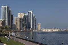 Khalid Lagoon Corniche promenade. Sharjah. United Arab Emirates. On the shore of the Persian Gulf in the city of Sharjah is equipped with beautiful waterfront Royalty Free Stock Images