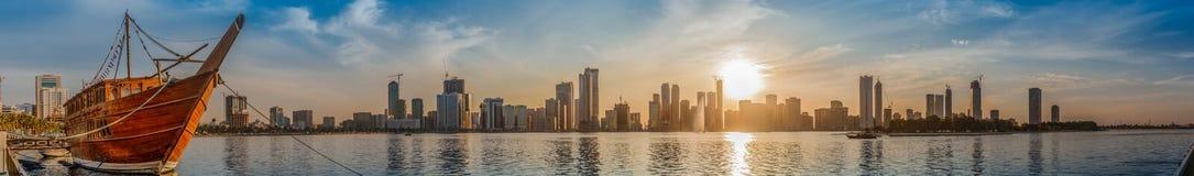 Khalid Lake i Sharjah Arkivbild