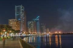 Khalid Lake i Sharjah Arkivfoton