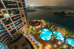 Khalidiya Palace resort at night in Abu Dhabi, UAE Stock Photo