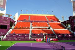 Khalifa Stadium. DOHA-QATAR: FEBRUARY 11: Tennis Court Khalifa Stadium of Qatar Total Open on February 11, 2013 in Doha, Qatar. The hosted event was held from stock photography