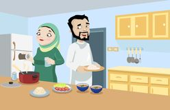 Khaliji夫妇在厨房里 库存图片