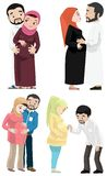 期待婴孩的Khaliji夫妇 免版税图库摄影