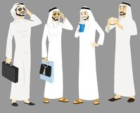 Khaliji Men Icons In Standing Positions Royalty Free Stock Photography