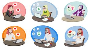 Khaliji People Using The Internet 1 Royalty Free Stock Image